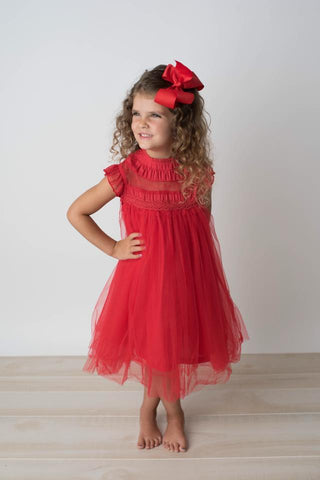 OLIVIA TULLE DRESS - RED - PREORDER