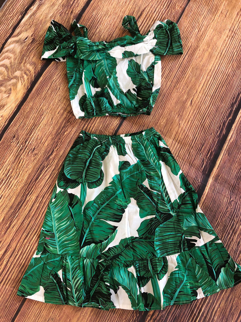 PALM LEAVES CROP TOP AND SKIRT SET