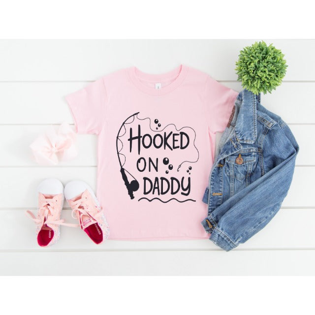 HOOKED ON  DADDY  PINK T-SHIRT