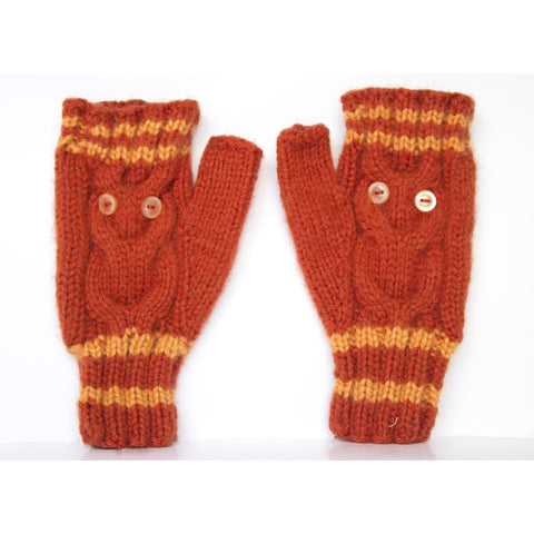 Owl Gloves Pumpkin Orange