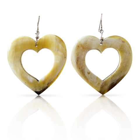 Bull Horn White Hearts Earrings
