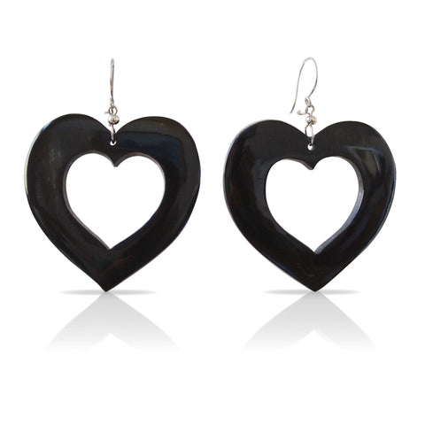 Bull Horn Black Hearts Earrings