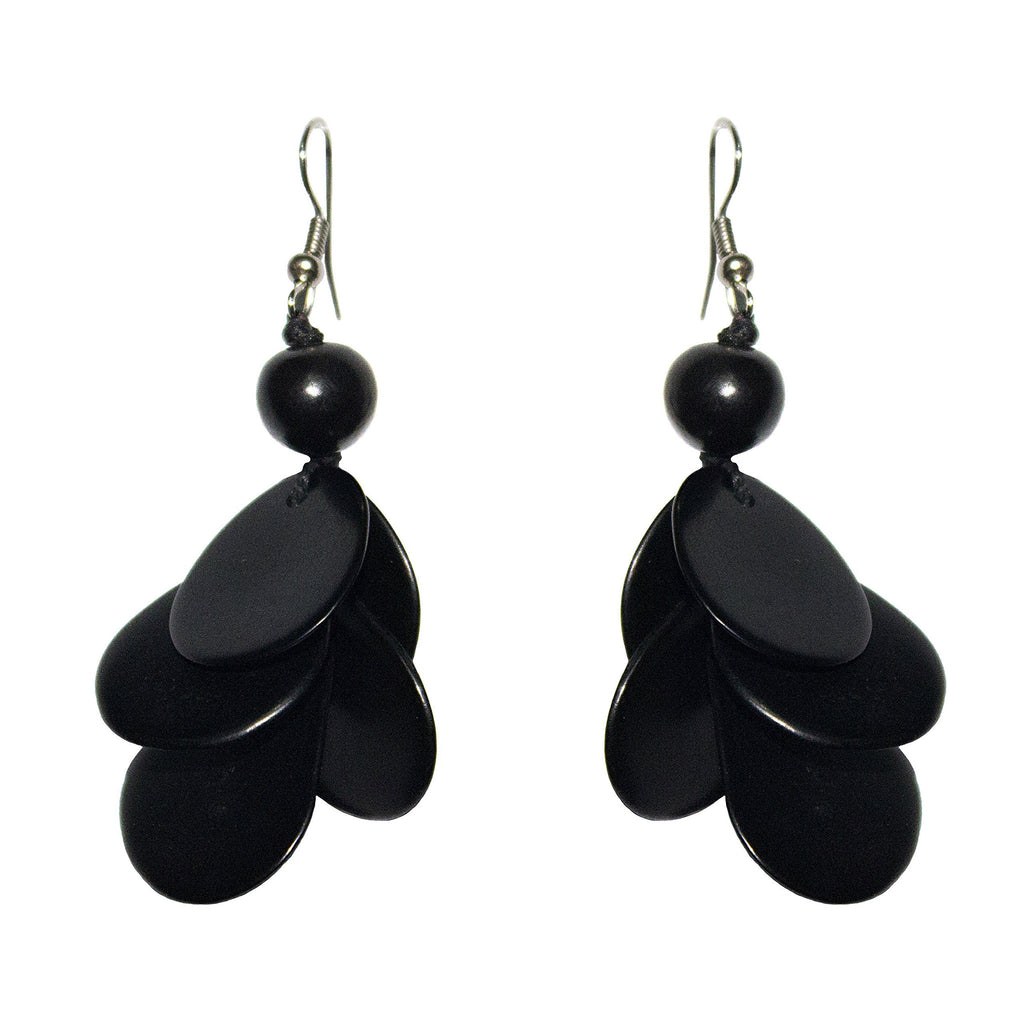 Black Drop Tagua Earring