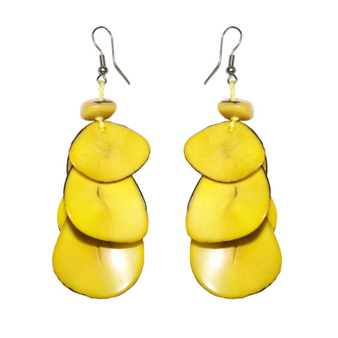 Yellow  Drop Tagua Earring