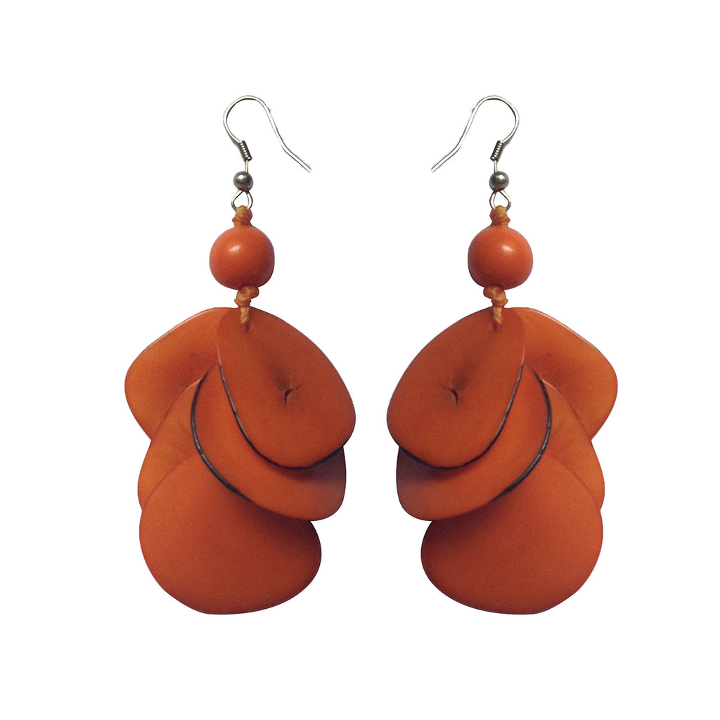 Orange  Drop Tagua Earring