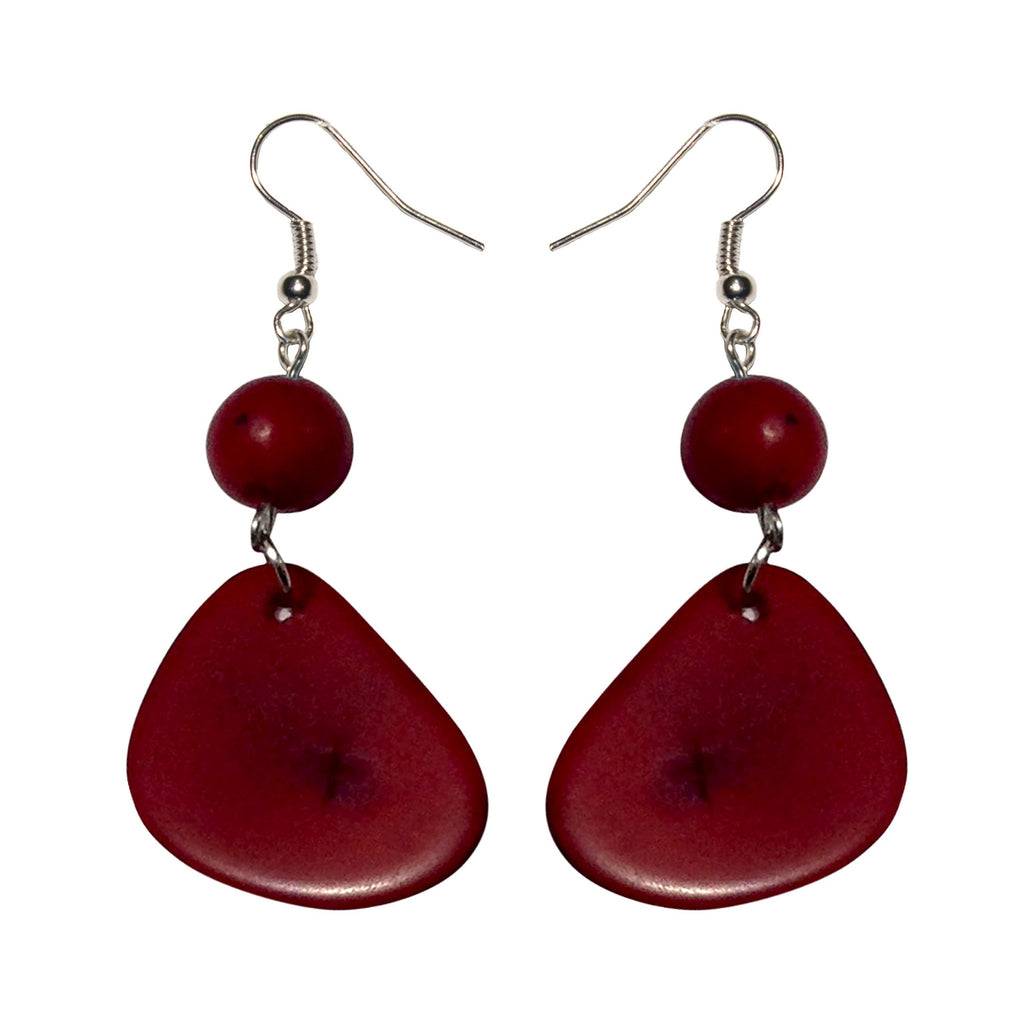 Red Stone Tagua Earring