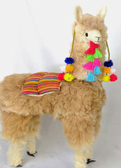 Large Light Brown Llama with Pompoms