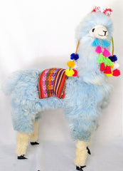 Large Baby Blue  Llama with Pompoms