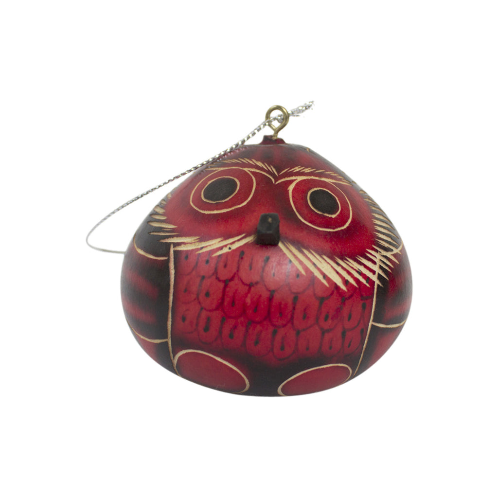 Handmade Red Owl Ornament