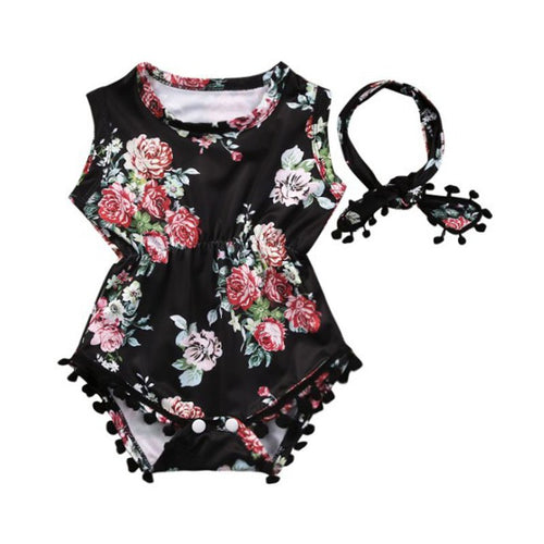 Sleeveless Black Floral Romper with Matching Headwrap