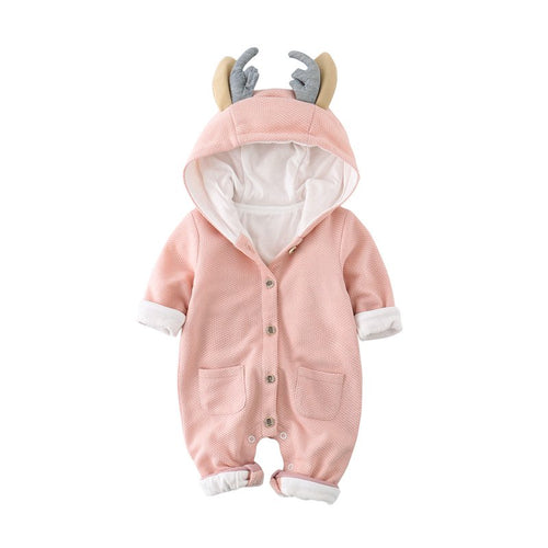 Adorable Baby Pink Deer Long Sleeved Hoodie Suit