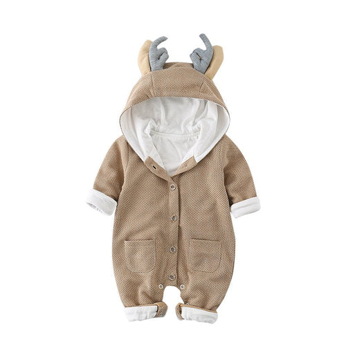 Adorable Khaki Deer Long Sleeved Hoodie Suit