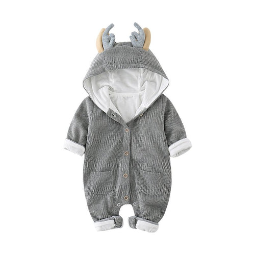 Adorable Gray Deer Long Sleeved Hoodie Suit