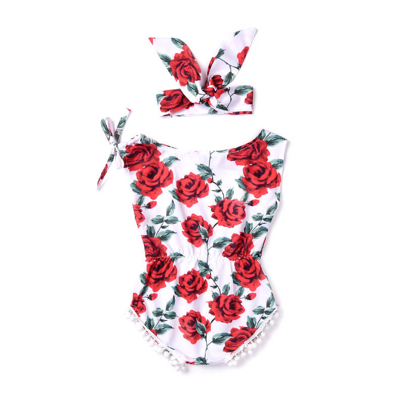 d380c060ddd0 Sleeveless Red Floral Romper with Matching Headwrap – Ruby Love Baby