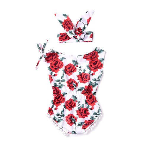 Sleeveless Red Floral Romper with Matching Headwrap