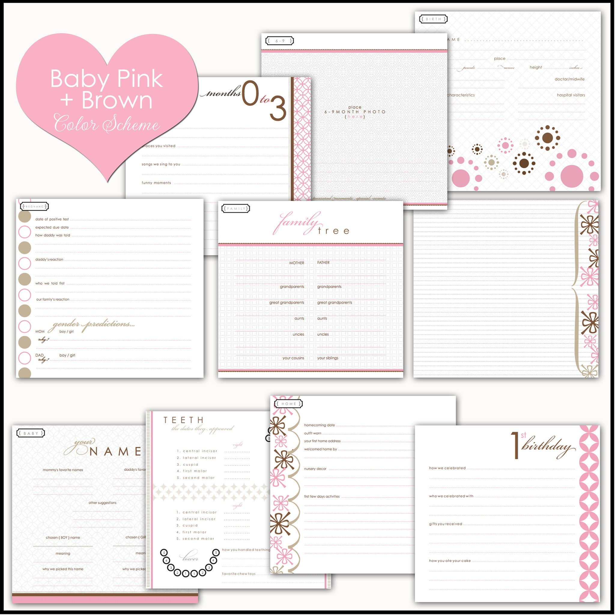 Pink and Brown Peony | Baby Book