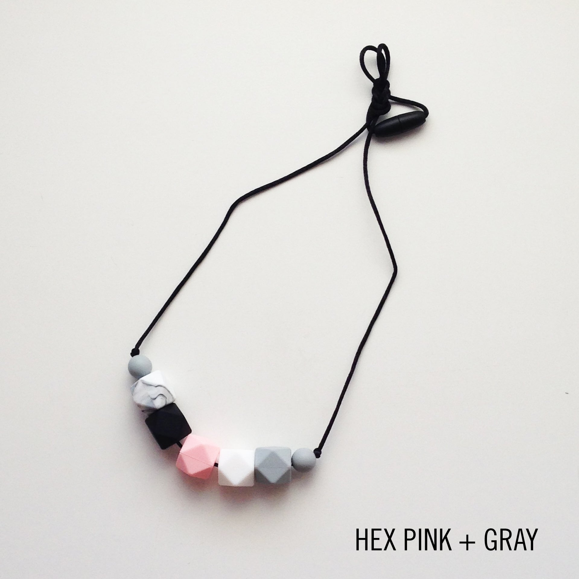 Hexagon Beaded Silicone Teething Necklace
