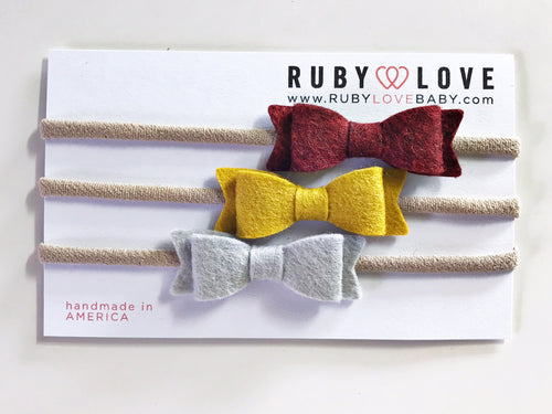 Headband Bows - Maroon, Mustard, Heather Gray