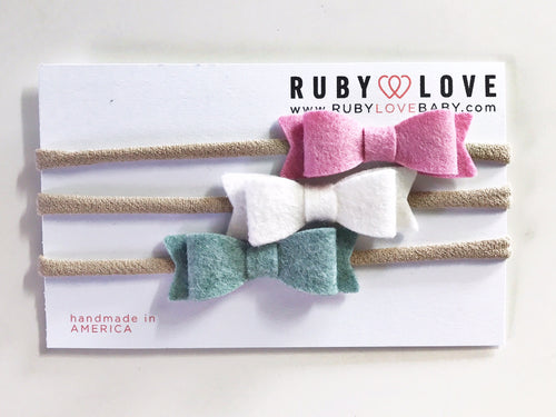 Headband Bows - Pink, White, Dusty Blue