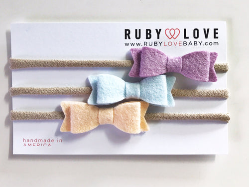 Headband Bows - Purple, Sky Blue, Peach