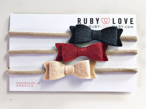 Headband Bows - Black, Scarlet, Peach