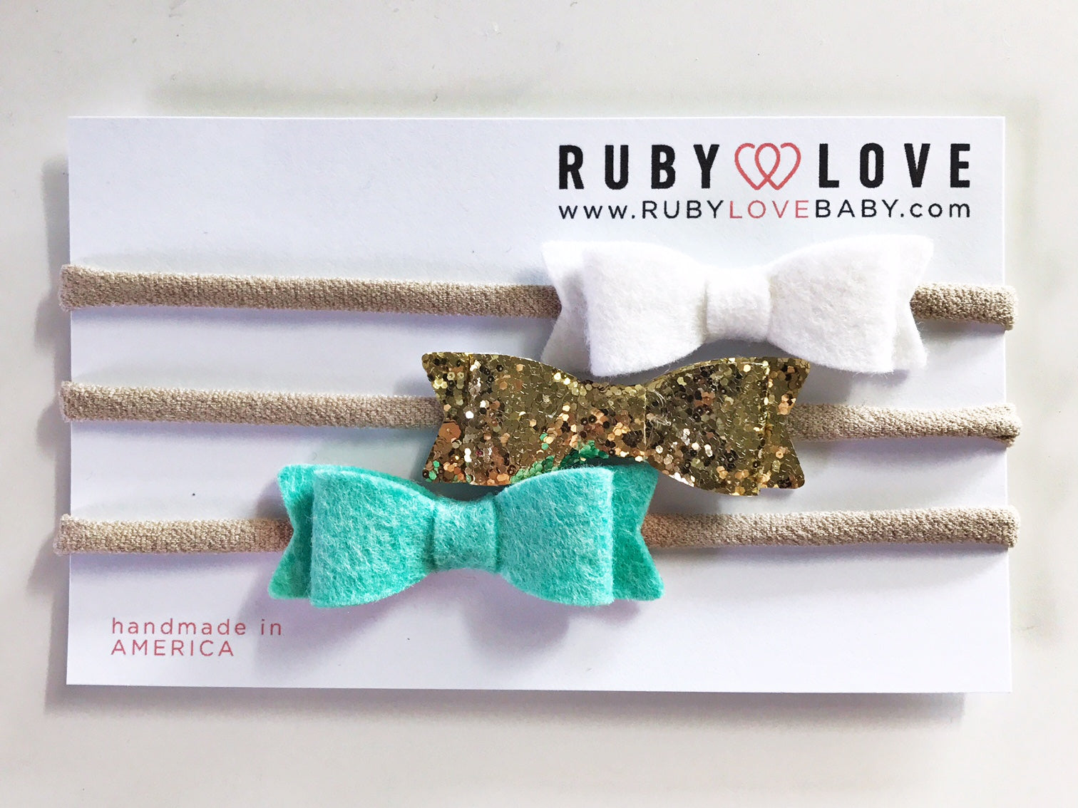 Headband Bows - White, Glitter Gold, Aqua