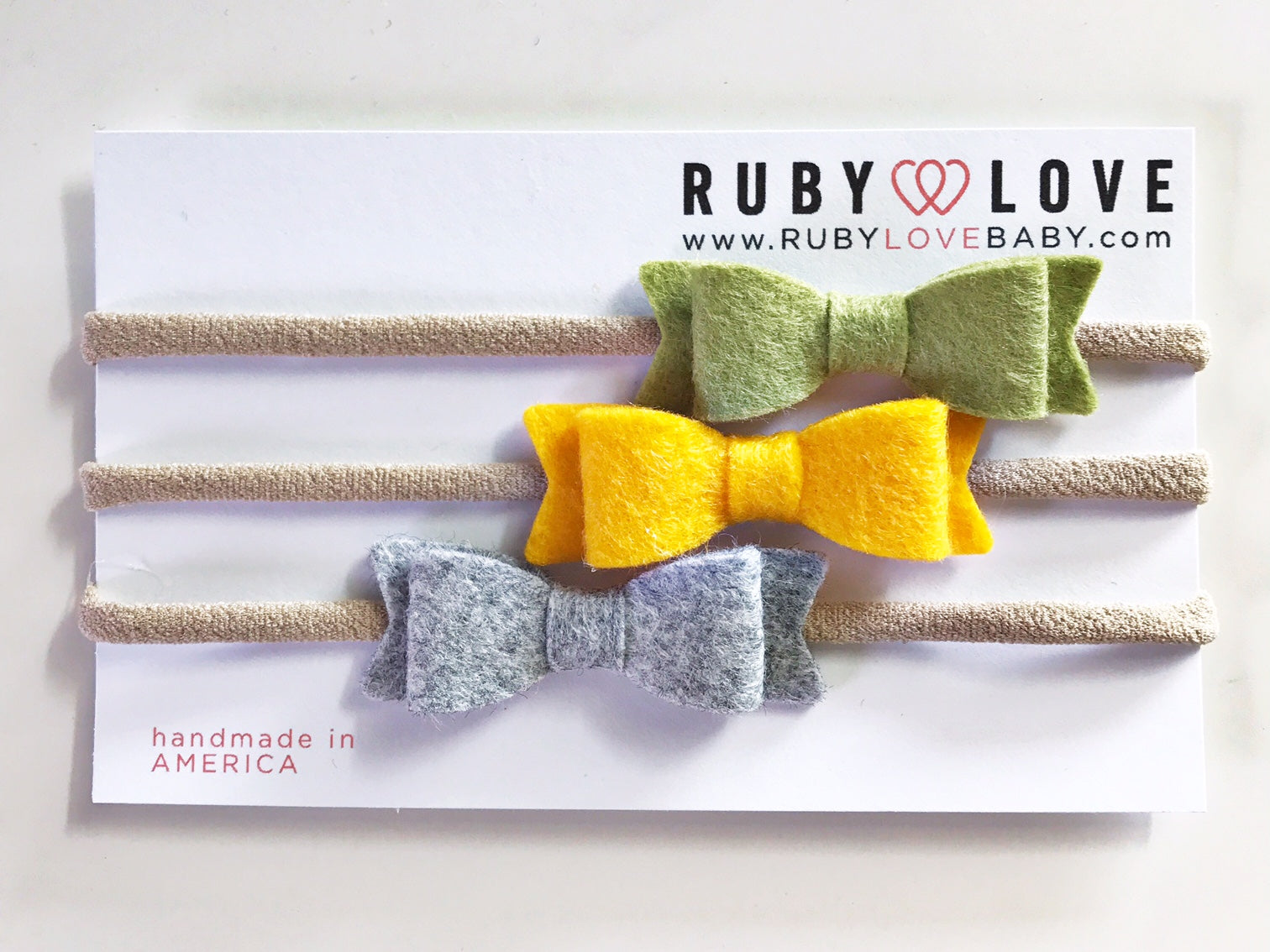 Headband Bows - Olive, Yellow, Heather Gray
