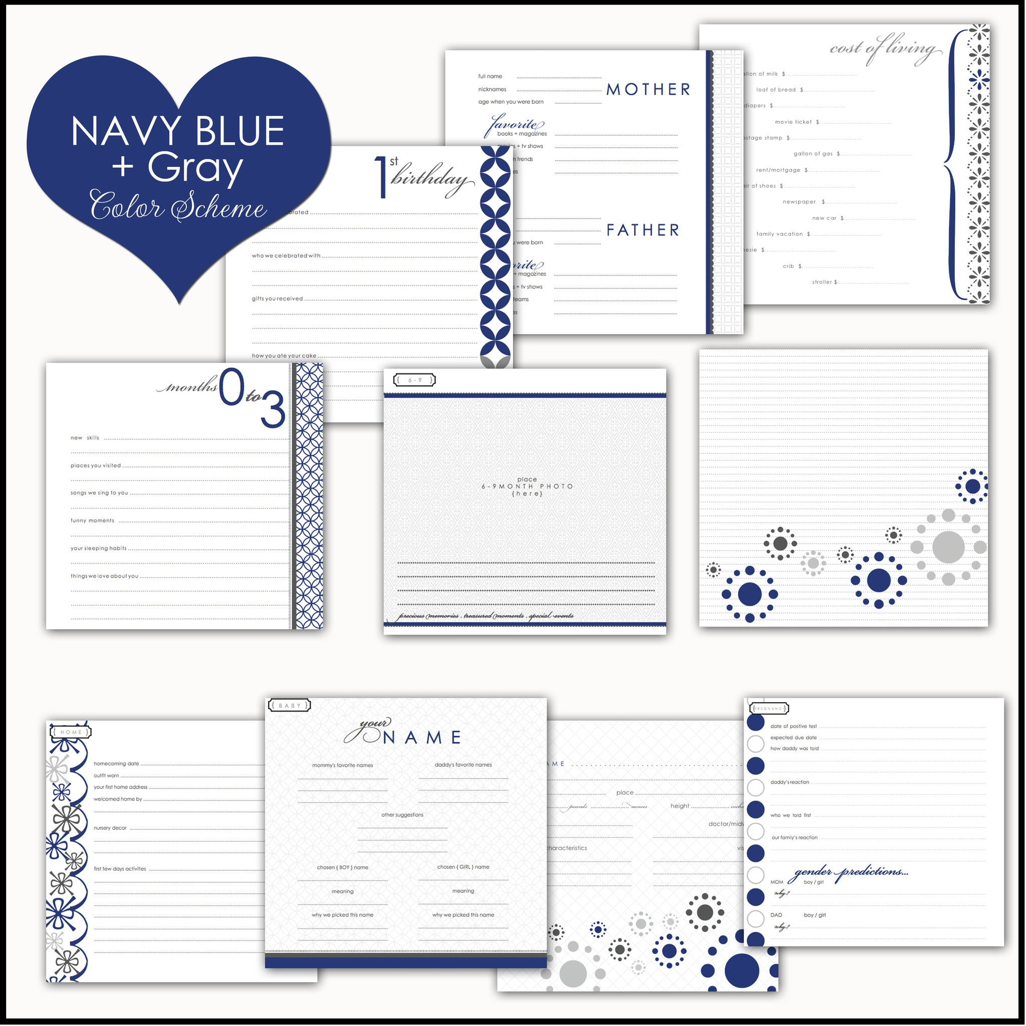 Navy & Gold Arrows Baby Memory Book