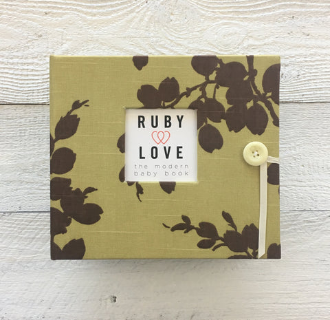Sage Linen Branches Baby Memory Book