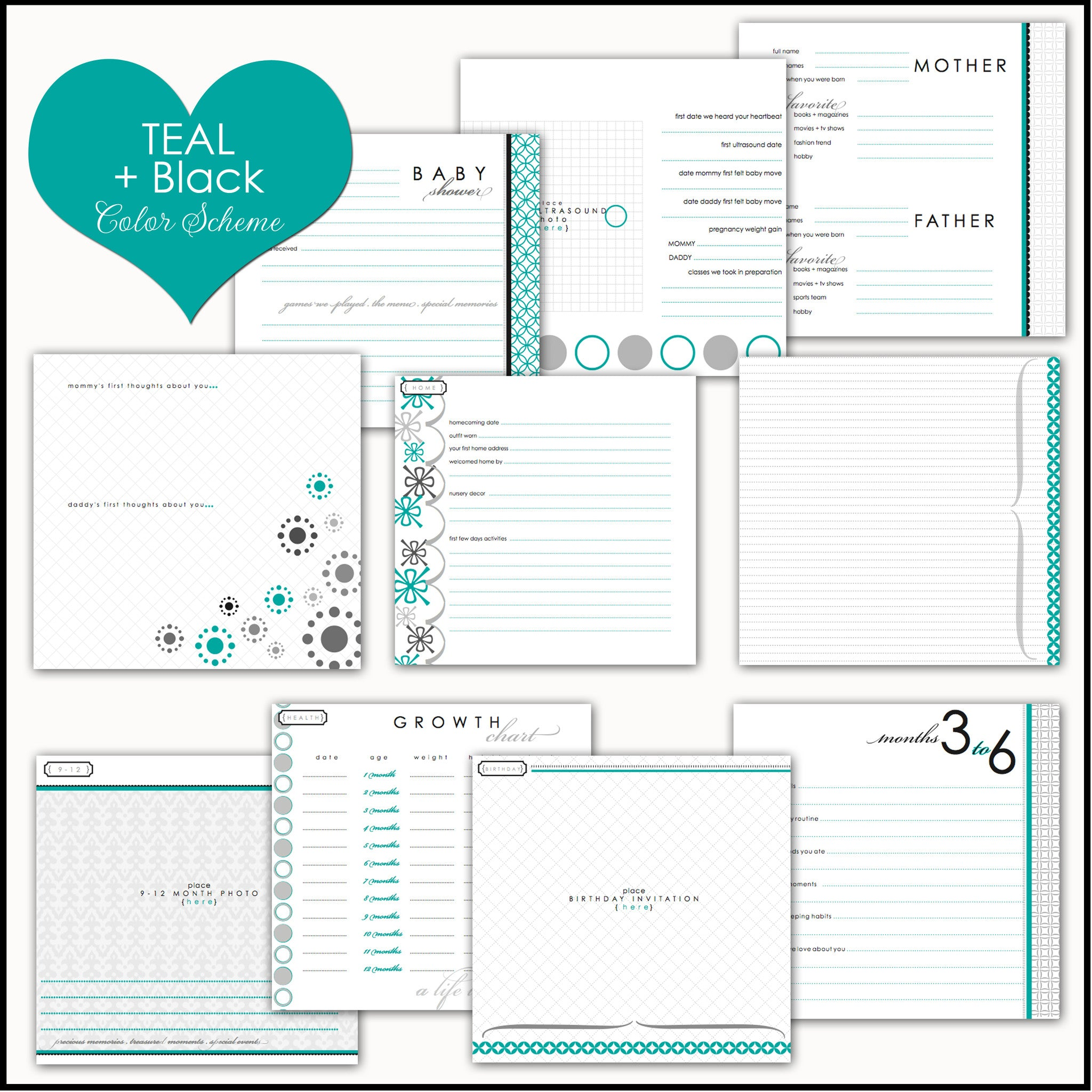 Turquoise Dandelions | Baby Book