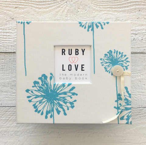 Turquoise Dandelions Baby Memory Book