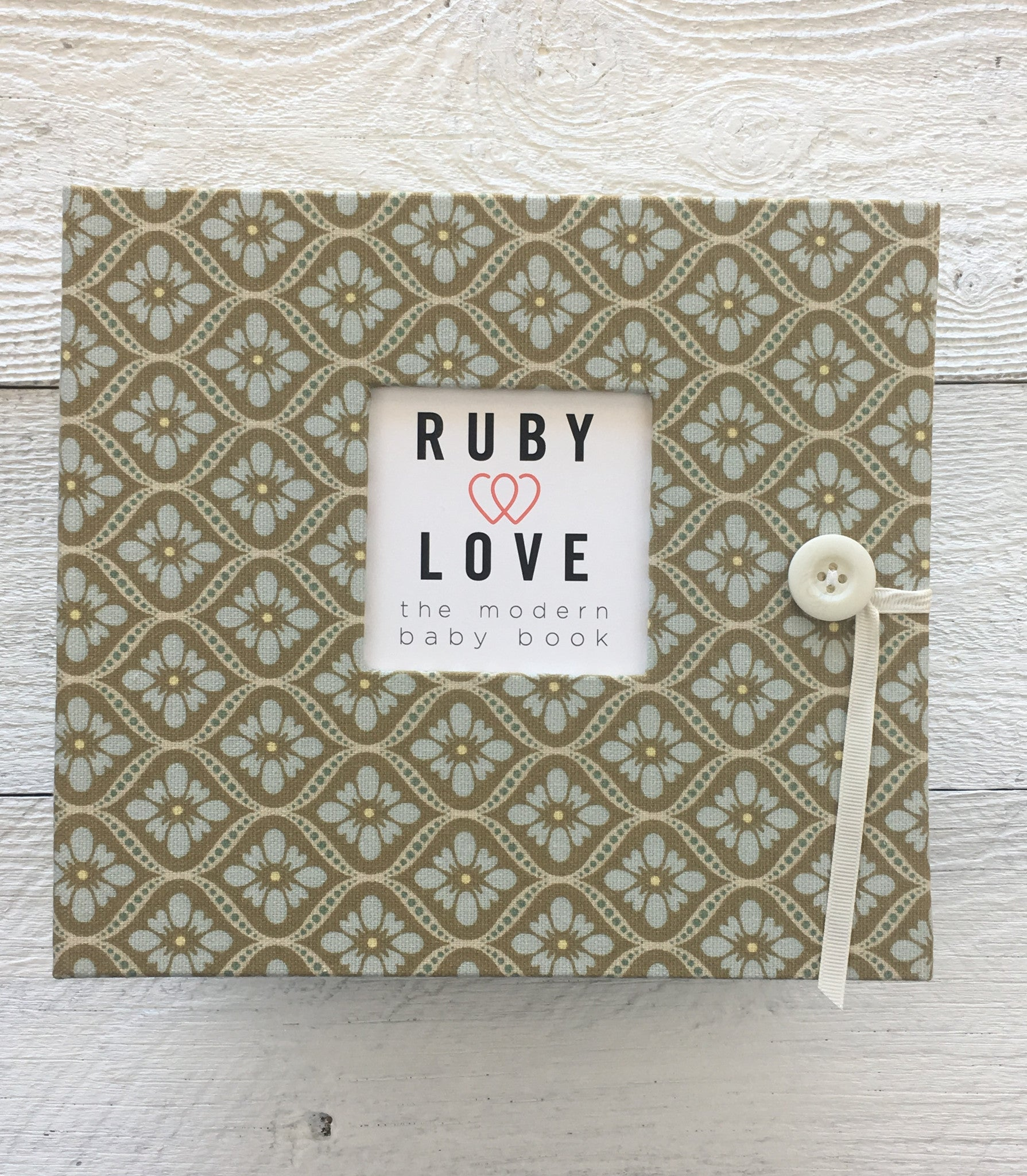 Vintage Blue and Beige Mosaic | Baby Book