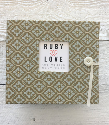 Vintage Blue and Beige Mosaic Baby Memory Book
