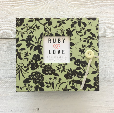 Vintage Mint Rose Baby Memory Book