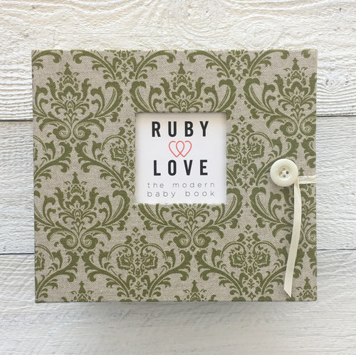 Vintage Olive Green Damask | Baby Book