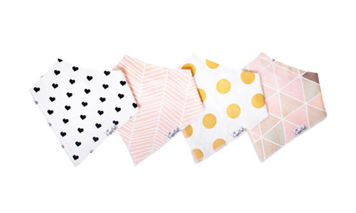 Copper Pearl- Bandana 4 pack Bib Set- Blush