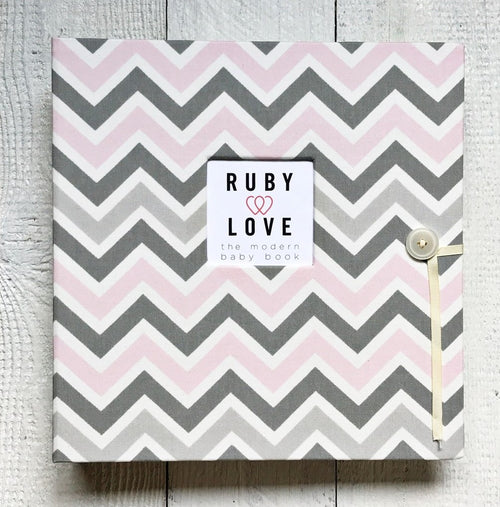 Baby Pink and Gray Chevron | School Years Memory Book