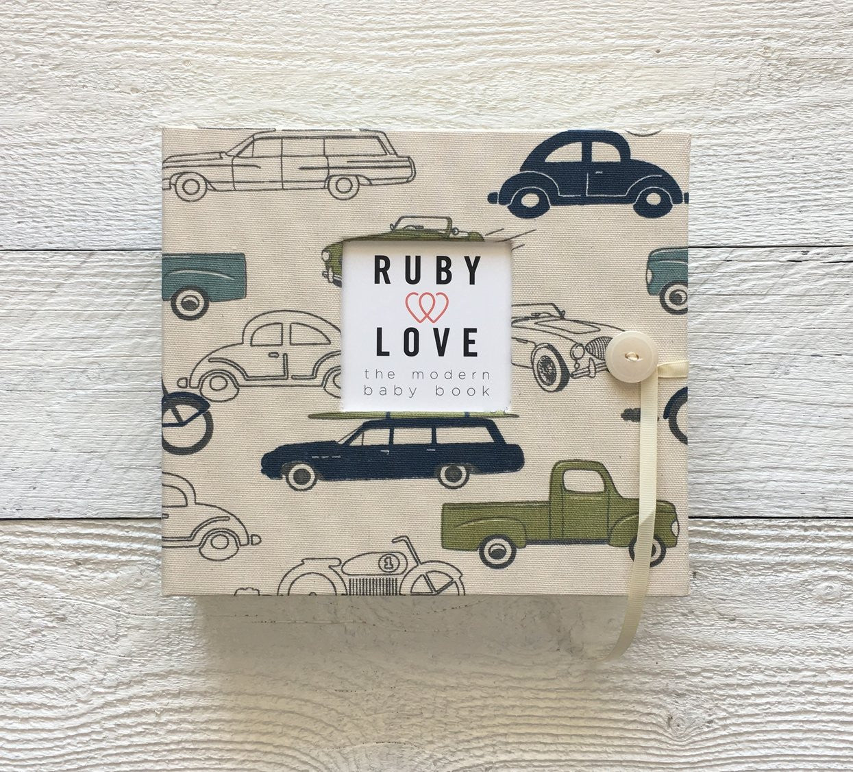 Green & Blue Vintage Cars | Baby Book