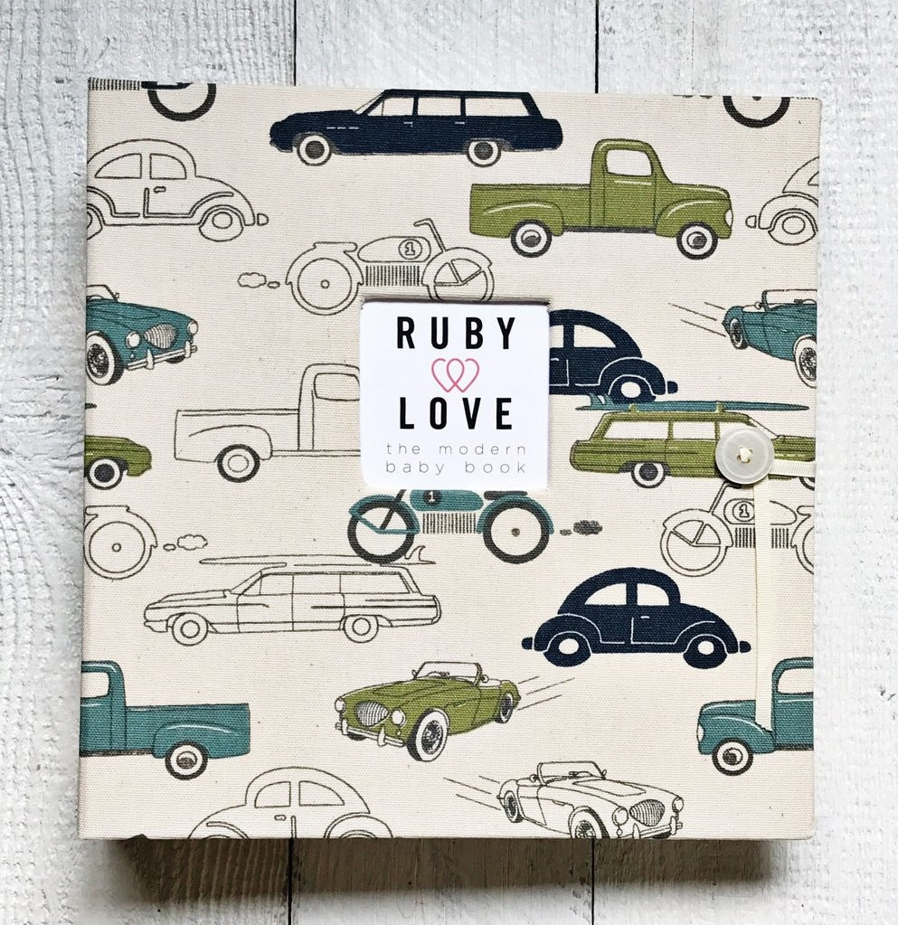 Blue and Green Vintage Cars | School Years Memory Book