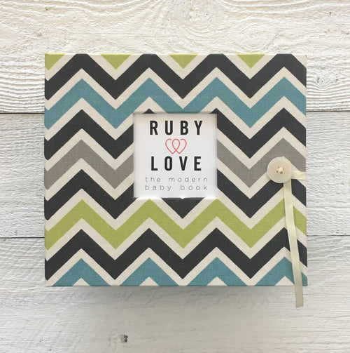 Blue and Green Chevron | Baby Book