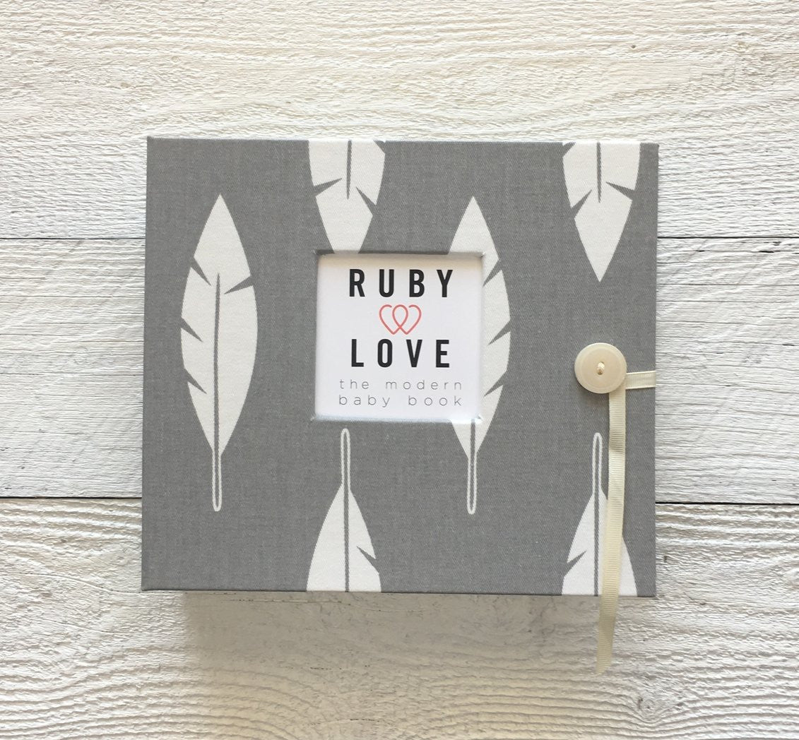 Gray Feathers Silhouette | Baby Book