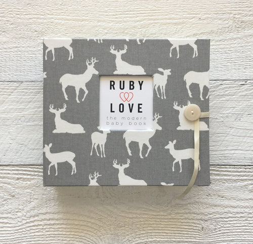 Gray Woodlands Silhouette | Baby Book