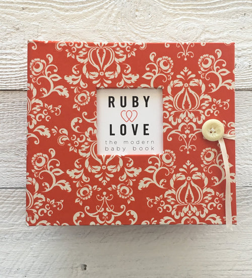 Orange Damask | Baby Book
