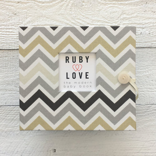 Muted Neutrals Chevron | Baby Book