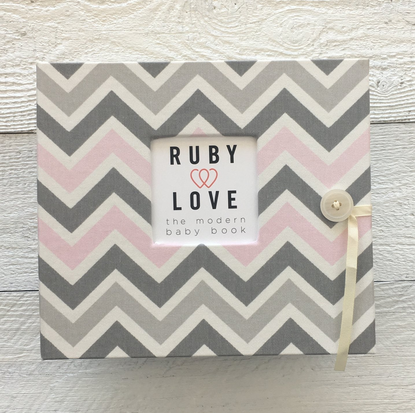 Pink & Gray Chevron | Baby Book