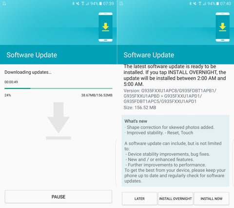 Samsung Galaxy S7/S7 edge new firmware update for specific bug fixes