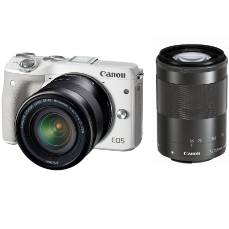 Canon EOS M3 kit (18-55)(55-200) White