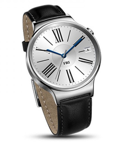 Huawei Watch Stainless Steel with black leather