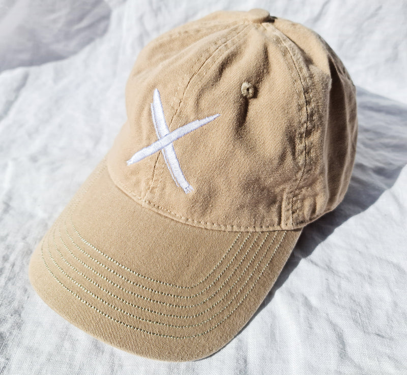 X Polo Cap- Beige-WhiteX