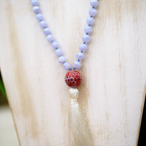 Blue Lace & Snake Skin Agate Mala - Peace and Upliftment